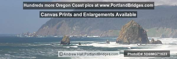 Cannon Beach, Haystack Rock, Panoramic