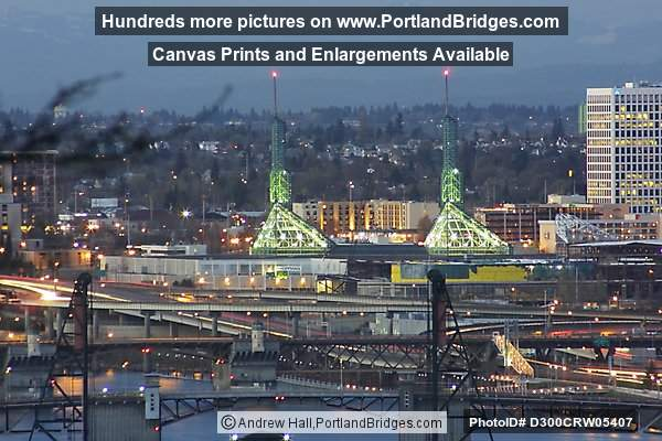 Hawthorne Bridge and Oregon Convention Center, Dusk (Portland, Oregon)