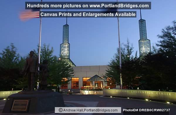 Oregon Convention Center at Dusk, Flags Flying (Portland, Oregon)