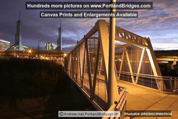 Portland Eastbank Esplanade Bridge, Oregon Convention Center, Daybreak