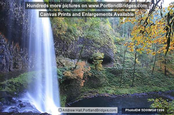 Lower South Falls from behind, Silver Falls State Park, Oregon