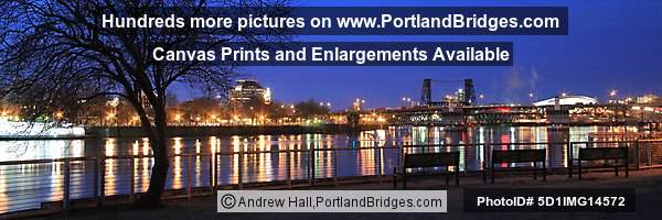 Eastbank Esplanade, Steel Bridge, Dusk (Portland, Oregon)