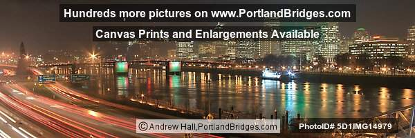 Portland Cityscape, Freeway Cart Lights, Dusk