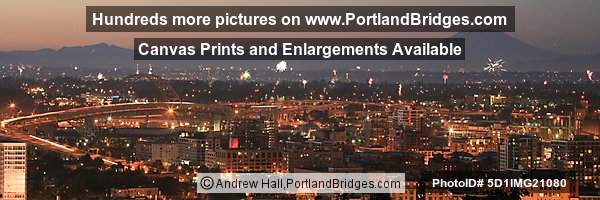 Fremont Bridge and Mt. St. Helens, Dusk, fireworks