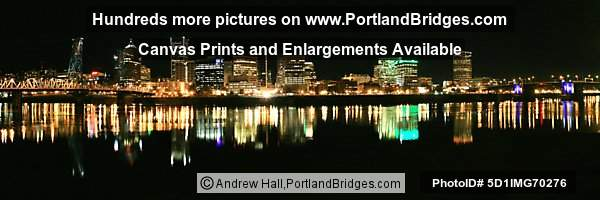 Portland Cityscape, Hawthorne Bridge and Morrison Bridge, Night