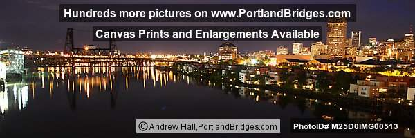 Steel Bridge, Portland Downtown Panorama, Dusk