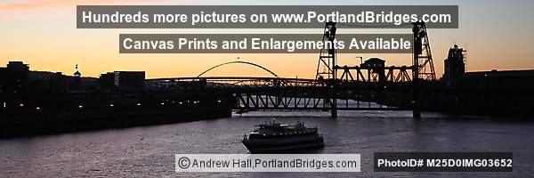 Steel Bridge, Portland Spirit, Fremont Bridge, Dusk