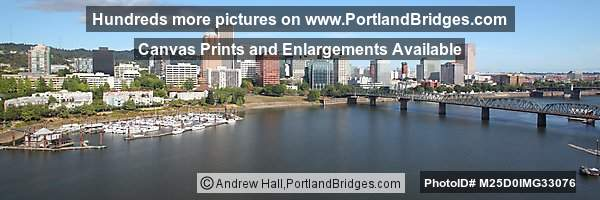 Portland Cityscape Panoramic, Hawthorne Bridge, from Marquam Bridge