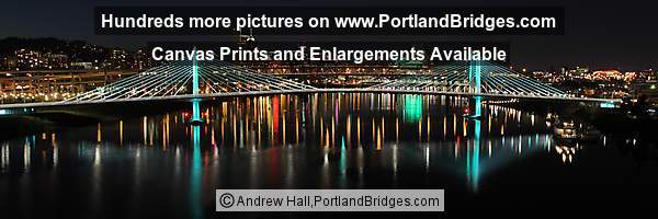 Portland Tilikum Crossing Bridge, Willamette River Reflections, Night