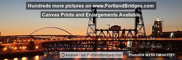 Steel Bridge, Fremont Bridge, Orange Sky, Dusk (Portland, Oregon)