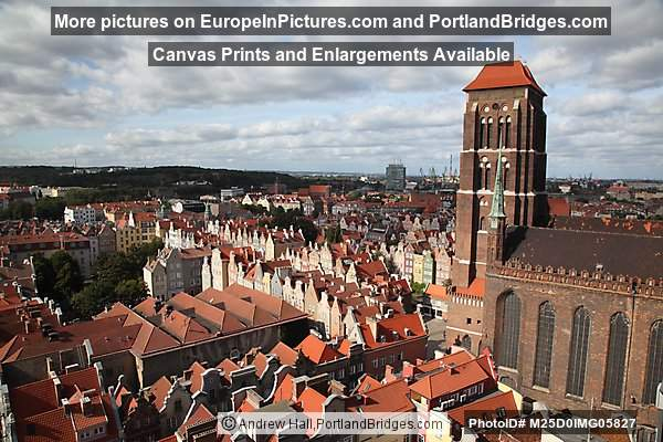 Gdansk, View from Main Town Hall, St. Mary's Church