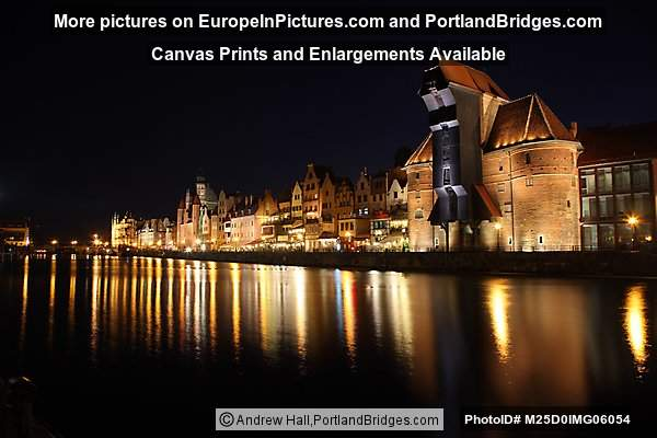 Gdansk, Crane, Waterfront Reflections at Night
