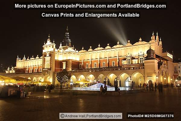 Rynek, Cloth Hall at Night, Krakow, Poland