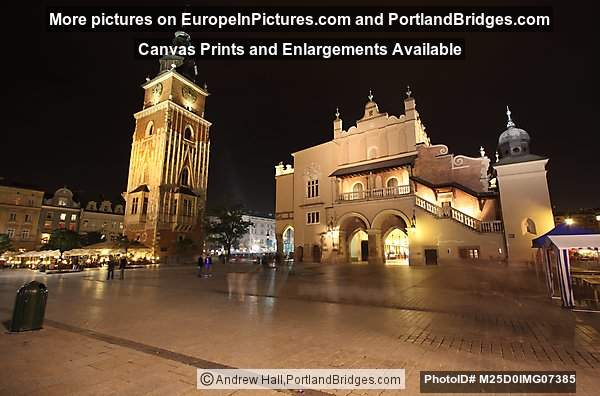 Rynek, Cloth Hall, Town Hall at Night, Krakow, Poland