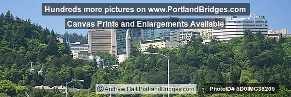 OHSU and the Aerial Tram, from Ross Island Bridge (Portland, Oregon)