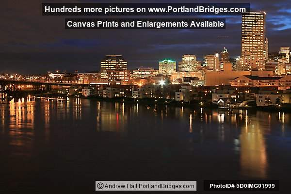 Willamette River, Portland Buildings, Dusk