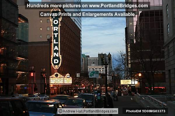 Schnitzer Portland Sign at Night, Broadway, Portland, Oregon