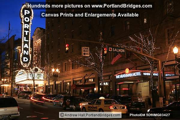 Schnitzer Portland Sign at Night, Broadway, Heathman Hotel