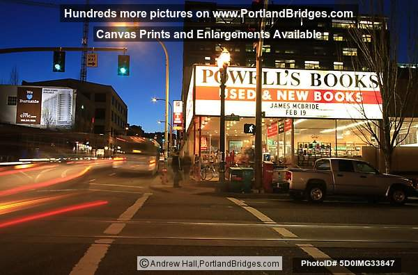 Powell's Books, Burnside, at Night, Portland