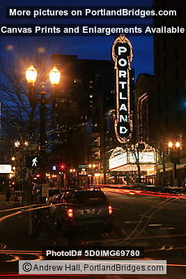 Portland Sign, Arlene Schnitzer Concert Hall, Car Light Streaks, Dusk