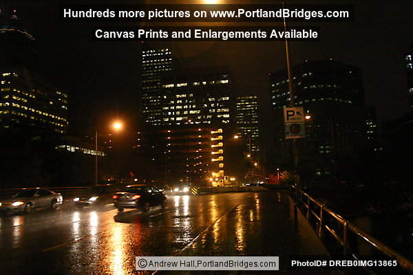 Portland, West Approach of Hawthorne Bridge, Rain, Dusk