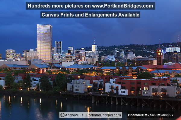 Downtown Portland, Union Station from Broadway Bridge, Dusk