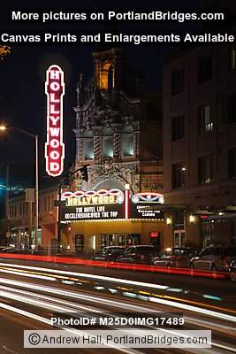 Hollywood Theatre, New Marquee, Night, Car Lights, Portland