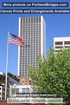 Wells Fargo Tower with US Flag (Portland, Oregon)