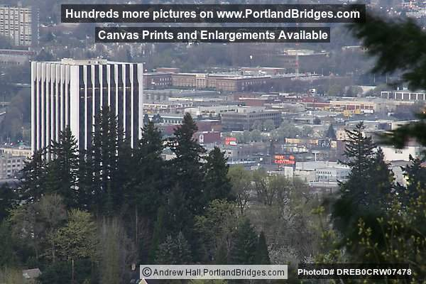 Wells Fargot Tower, Through Trees, from Council Crest (Portland, Oregon)