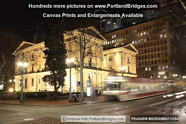 Portland Pioneer Courthouse, MAX Train, Night