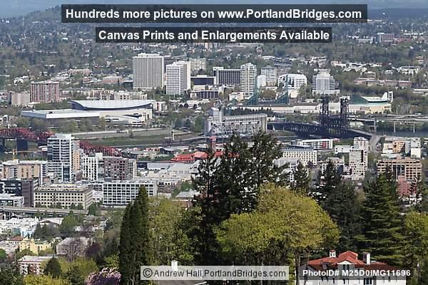 Broadway Bridge Rose Garden Arena Memorial Coliseum Oregon Convention Center Portland