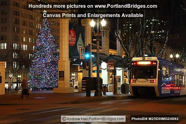 Pioneer Courthouse Square Christmas Tree, MAX Train, Portland