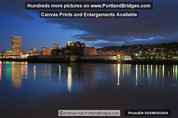 US Bancorps Tower, Reflection in Willamette River, Dusk (Portland, Oregon)