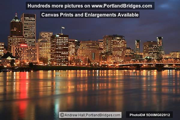 Portland Cityscape, Willamette River Reflections, Dusk