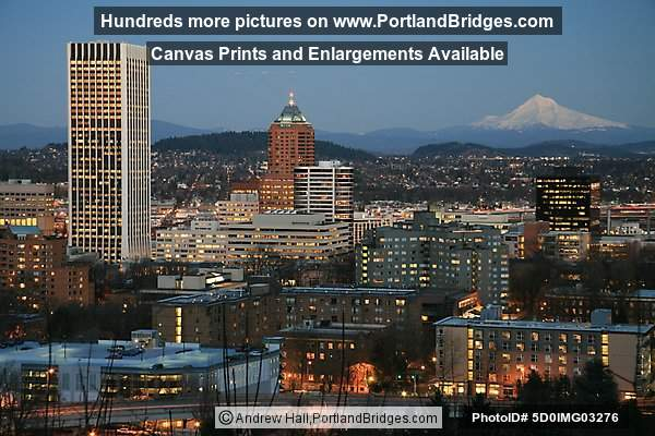 Portland Skyline: Wells Fargo Tower, Koin Tower, Mt. Hood, Dusk