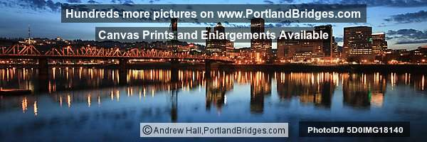 Portland Cityscape, Reflections, Clouds, Dusk, Panoramic