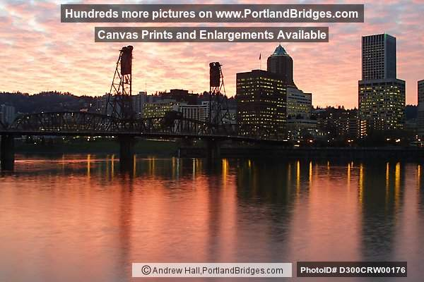 Portland Cityscape, Sunset, Orange Sky