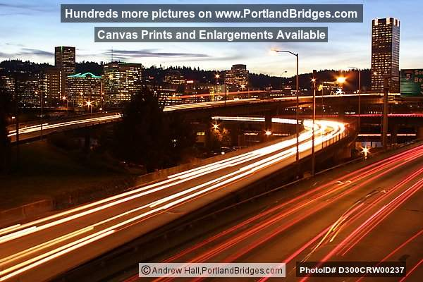 Portland Buildings, Freeway Car Lights, Dusk