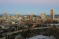 Portland Skyline Facing East Dusk