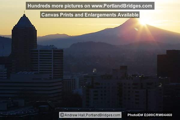 Mt. Hood and Koin Tower, Portland, Daybreak