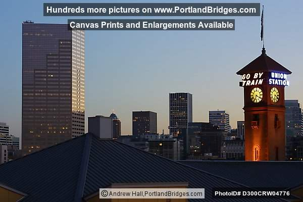 Portland Union Station and US Bancorp Tower, Dusk