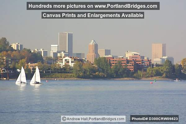 Portland Buildings, Sailboats, Willamette River