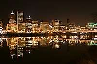 Portland Skyline at Night, Willamette River Reflection