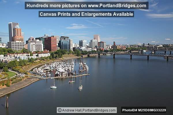Portland Cityscape, Riverplace, viewed from Marquam Bridge
