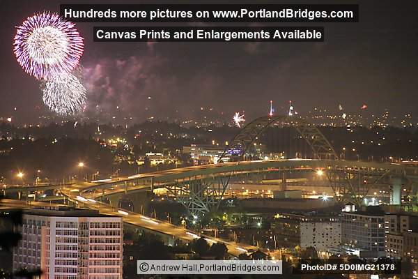 Fort Vancouver Fireworks and Fremont Bridge, Dusk (Portland, Oregon)