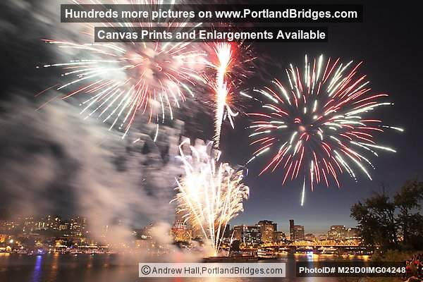 Portland Oregon Fireworks, Downtown, July 4, 2012