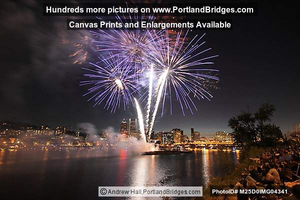 Portland Fireworks, from OMSI, Willamette River, July 4, 2012