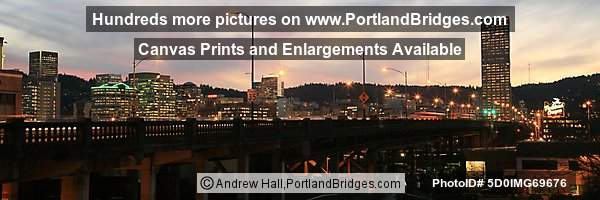 Portland Cityscape, Burnside Bridge, Portland Oregon Sign, Panorama