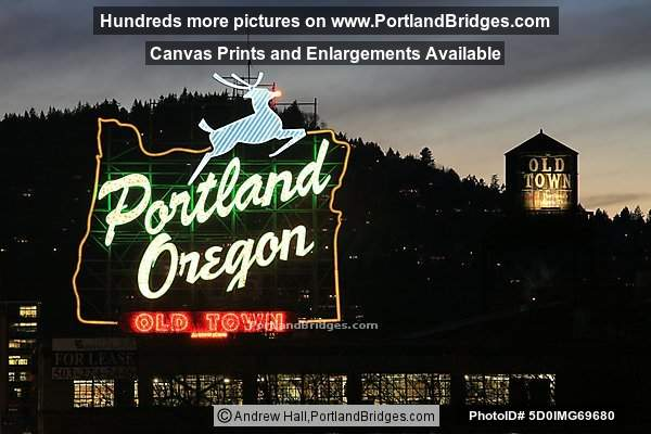 Portland, Oregon Sign, Old Town, Dusk