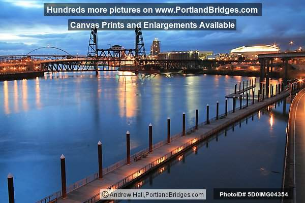 Steel Bridge, Willamette River, Dusk (Portland, Oregon)